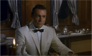 Sean Connery, once again in the iconic white dinner jacket