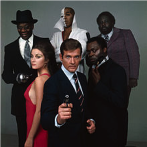 Roger Moore as James Bond in his debut film, alongside other cast members