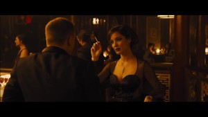 Severine and Bond in the casino scene from Skyfall